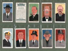 Collectible cigarette cards Caricatures 1928, Charles Chaplin,Churchill,Kipling, etc